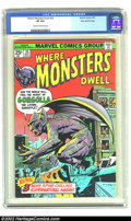 Bronze Age (1970-1979):Horror, Where Monsters Dwell #35 Stan Lee File Copy (Marvel, 1975) CGC VF8.0 Cream to off-white pages. This is a true classic cover...