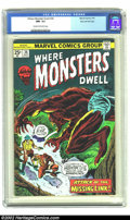 Bronze Age (1970-1979):Horror, Where Monsters Dwell #36 Stan Lee File Copy (Marvel, 1975) CGC NM-9.2 Cream to off-white pages. Stan Lee's own copy feature...