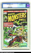 Bronze Age (1970-1979):Horror, Where Monsters Dwell #37 Stan Lee File Copy (Marvel, 1975) CGC VF- 7.5 Cream to off-white pages. A scarcer Bronze Age classi...