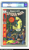 """Bronze Age (1970-1979):Superhero, Amazing Spider-Man #96 (Marvel, 1971) CGC NM+ 9.6 Off-white to White Pages. First of the three classic """"drug"""" issues that we..."""