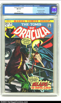 Tomb of Dracula #10 (Marvel, 1973) CGC NM 9.4 White pages. This stunning Gene Colan and Jack Abel cover shows Blade the...