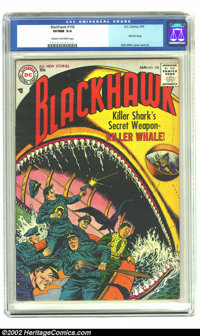Blackhawk #108 (DC, 1957) CGC VF/NM 9.0 Cream to off-white pages. Blackhawk had been one of Quality's most enduring char...