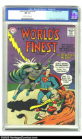 Silver Age (1956-1969):Superhero, World's Finest Comics #87 (DC, 1957) CGC NM- 9.2 Off-white to white pages. Cover artist Curt Swan did his first Superman sto...