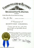 Memorabilia:Comic-Related, Julius Schwartz Kentucky Colonel Certificate (1994). An award given for meritorious service by the Governor of Kentucky, bei...