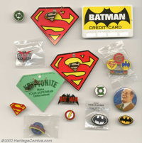 Julius Schwartz Batman and Superman Collectibles (undated). Offered here are 38 pieces of Batman and Superman memorabili...