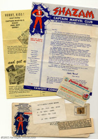 Captain Marvel Club Kit (Fawcett, 1946) Condition: GD/VG. This complete kit includes the envelope (some pencil on the ba...