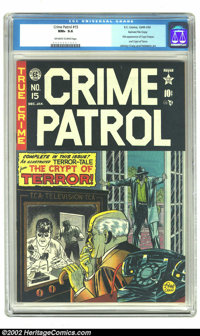 Crime Patrol #15 Gaines File pedigree 1/11 (EC, 1950) CGC NM+ 9.6 Off-white to white pages. If issue #17 of The Crypt of...
