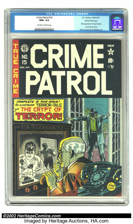 Crime Patrol #15 Gaines File pedigree 1/11 (EC, 1950) CGC NM+ 9.6 Off-white to white pages. If issue #17 of The Crypt of T...