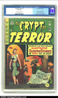 Golden Age (1938-1955):Horror, Crypt of Terror #17 (EC, 1950) CGC VF- 7.5 Cream to off-whitepages. Johnny Craig renders a haunting cover of a woman walkin...