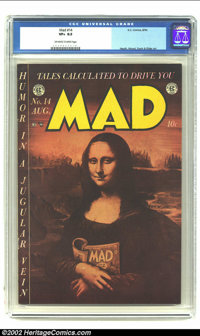 Mad #14 (EC, 1954) CGC VF+ 8.5 Off-white to white pages. Revealed at last, the reason for the Mona Lisa's smile; the lat...