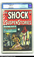 Golden Age (1938-1955):Horror, Shock SuspenStories #6 (EC, 1952) CGC NM/MT 9.8 Off-white to white pages. One of the all-time classic hooded bondage covers ...