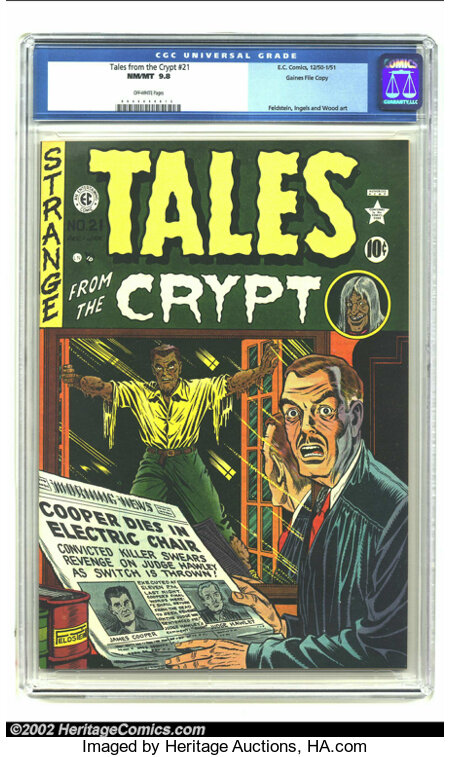 Tales From the Crypt #21 Gaines File pedigree 3/10 (EC, 1951) CGC NM/MT 9.8 Off-white pages. This incredible cover shows Al ...
