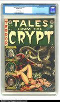 Golden Age (1938-1955):Science Fiction, Tales From the Crypt #32 (EC, 1952) CGC VF/NM 9.0 Off-white pages.Jack Davis delivers a pulse-pounding cover of an angry el...