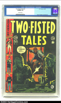 Two-Fisted Tales #41 (EC, 1955) CGC VF/NM 9.0 Off-white pages. Jack Davis shows his versatility with this somber cover...