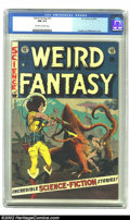 Golden Age (1938-1955):Science Fiction, Weird Fantasy #21 (EC, 1953) CGC NM 9.4 Off-white to white pages. One of the more famous covers of the title owes its startl...