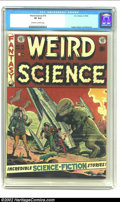 Golden Age (1938-1955):Science Fiction, Weird Science #15 (EC, 1952) CGC VF 8.0 Off-white to white pages.What a great medium! Dinosaurs and rocket ships co-existin...