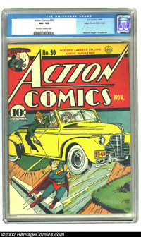 Action Comics #30 Mile High pedigree (DC, 1940) CGC NM- 9.2 Off-white to white pages. This is such a brilliant copy of t...
