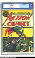 Golden Age (1938-1955):Superhero, Action Comics #44 (DC, 1942) CGC VF/NM 9.0 Cream to off-white pages. Fred Ray's cover depicting Superman destroying Nazi sol...