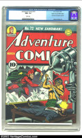 Golden Age (1938-1955):Superhero, Adventure Comics #72 Mile High pedigree (DC, 1942) CGC NM+ 9.6 White pages. Jack Burnley's last cover of the run ranks among...