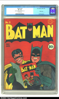Batman #8 (DC, 1942) CGC VF- 7.5 Off-white pages. This is the ultimate Batman infinity cover showing Batman and Robin ho...
