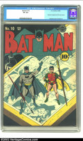 Golden Age (1938-1955):Superhero, Batman #10 (DC, 1942) CGC VF 8.0. This classic Fred Ray cover shows Batman and Robin respectively holding a brush and pen wh...