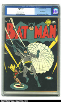 Batman #13 (DC, 1942) CGC VF 8.0 Cream to off-white pages. The black background looked great when this early issue came...