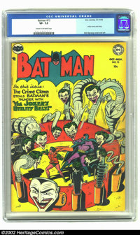 Batman #73 (DC, 1952) CGC VF- 7.5 Cream to off-white pages. The terrific Joker cover comes courtesy of Dick Sprang, one...