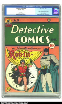 Detective Comics #38 (DC, 1940) CGC VF/NM 9.0 White pages. Batman without Robin? The Caped Crusader managed eleven issue...