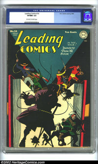 Leading Comics #14 (DC, 1945) CGC VF/NM 9.0 Off-white to white pages. A very unique cover that captures the imagination...