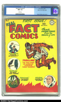 Real Fact Comics #1 Mile High pedigree (DC, 1946) CGC NM+ 9.6 White pages. Fred Ray, Joe Simon, and Jack Kirby provide t...