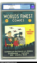 Golden Age (1938-1955):Superhero, World's Finest Comics #5 (DC, 1942) CGC FN 6.0 Cream to off-white pages. The gigantic size (96 pages!) and vulnerable constr...