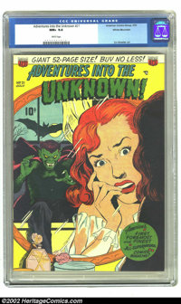 Adventures Into the Unknown #21 White Mountain pedigree (ACG, 1951) CGC NM+ 9.6 White pages. A mere two copies of the is...