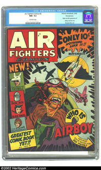 Air Fighters Comics Vol. 1 #2 Pennsylvania pedigree (Hillman Fall, 1942) CGC NM- 9.2 Off-white pages. The cover art by C...