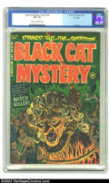 Golden Age (1938-1955):Horror, Black Cat Mystery #39 File Copy (Harvey, 1952) CGC VF- 7.5 Cream tooff-white pages. Strangling a witch was such fun on the ...