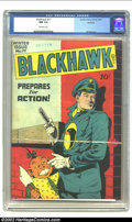 Golden Age (1938-1955):War, Blackhawk #17 Rockford pedigree (DC, 1947) CGC NM 9.4 Off-white pages. Featuring Bill Ward art. A beautiful copy with a date...