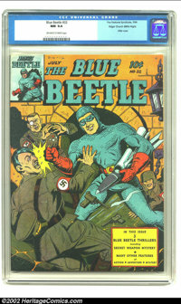 Blue Beetle #32 Mile High pedigree (Fox Features Syndicate, 1944) CGC NM 9.4 Off-white to white pages. Sporting the best...