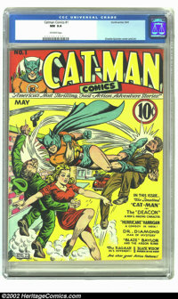 Catman Comics #1 (Continental, 1941) CGC NM 9.4 Off-white pages. Cat Man is one of the harder to find titles of the Gold...