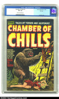 Golden Age (1938-1955):Horror, Chamber of Chills #14 File Copy (Harvey, 1952) CGC VF+ 8.5 Cream toOff-white pages. Lee Elias depicts a monster from the bo...