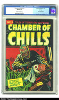 Golden Age (1938-1955):Horror, Chamber of Chills #18 File Copy (Harvey, 1953) CGC FN/VF 7.0 Creamto off-white pages. One of Lee Elias' most famous covers ...