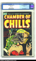 Golden Age (1938-1955):Horror, Chamber of Chills #19 File Copy (Harvey, 1953) CGC VF+ 8.5 Cream tooff-white pages. Here's another black background, and su...