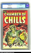 Golden Age (1938-1955):Horror, Chamber of Chills #25 File Copy (Harvey, 1954) CGC NM- 9.2 Cream tooff-white pages. A fiery-hot cover by Lee Elias used bri...