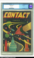 Golden Age (1938-1955):Science Fiction, Contact Comics #12 Okajima pedigree (Aviation Press, 1946) CGC VF- 7.5 Off-white pages. This wonderful book has quite a bit ...