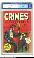 Golden Age (1938-1955):Crime, Crimes Incorporated #12 (Fox 1950) CGC VF- 7.5 Cream to off-white pages The bold red cover of this issue just might contain...