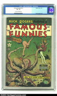 Famous Funnies #215 (Eastern Color, 1955) CGC VF- 7.5 Cream to off-white pages. It's our favorite octopus cover in comic...