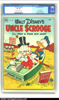 Golden Age (1938-1955):Cartoon Character, Four Color #386 Walt Disney's Uncle Scrooge (Dell, 1952) CGC VF- 7.5 Cream to off-white pages. Donald's rich uncle had made ...