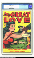 Golden Age (1938-1955):Romance, My Great Love #2 (Fox, 1949) CGC FN+ 6.5 Off-white pages. There isno telling where the scene on this cover is heading, but ...