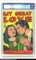 Golden Age (1938-1955):Romance, My Great Love #4 (Fox, 1950) FN+ 6.5 Cream to off-white pages. Thesmooth talker on this cover is getting nowhere fast with ...