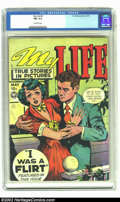 "Golden Age (1938-1955):Romance, My Life #8 (Fox, 1949) CGC FN+ 6.5 Off-white pages. ""Are we goingto let that cheap woman come between us?"", the rake asks e..."