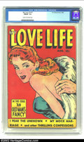 Golden Age (1938-1955):Romance, My Love Life #7 (Fox, 1949) CGC FN/VF 7.0 Cream to off-white pages.This issue sports an intense red background on the cover...