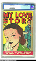 Golden Age (1938-1955):Romance, My Love Story #1 (Fox, 1949) CGC VF 8.0 Light tan to off-white pages. First issue of a four-issue run. At this writing, this...
